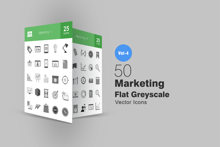 Thumbnail for 50 Marketing Greyscale Icons