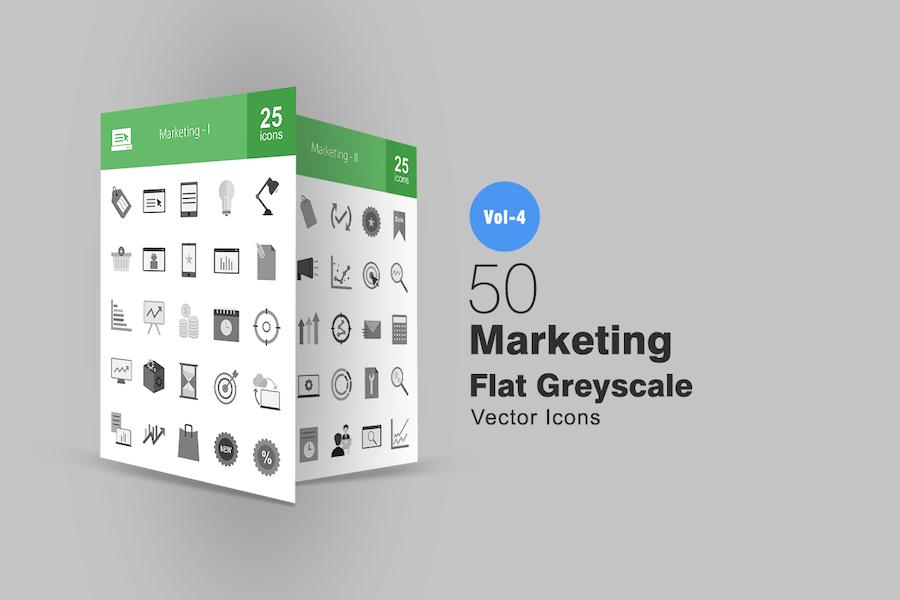 50 Marketing Greyscale Icons