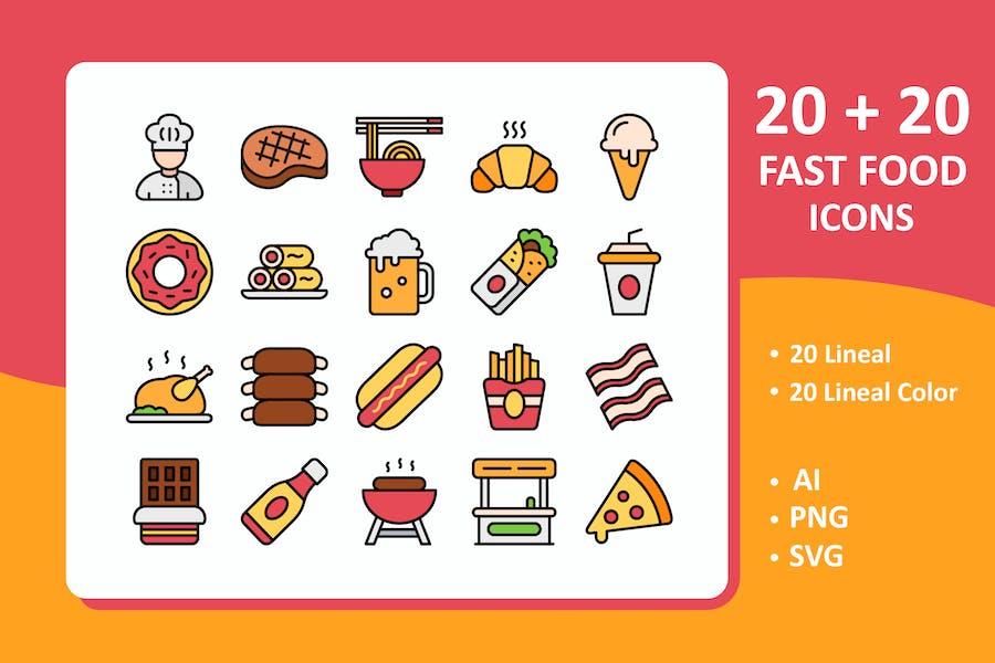 Fast-Food-Icons (Linie + farbige Linie)