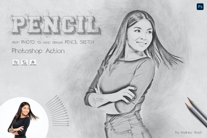 Sketch карандаша - Photoshop Action