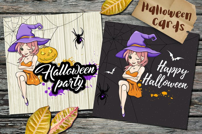 Thumbnail for Halloween Cards with Little Witch