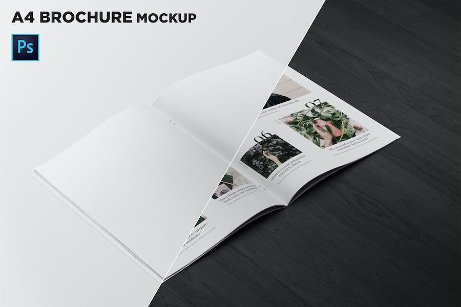 A4 Brochure Mockup 2 Pages Spread