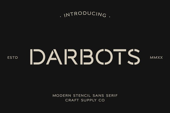 Darbots - Pochoir moderne sans emSerif tement