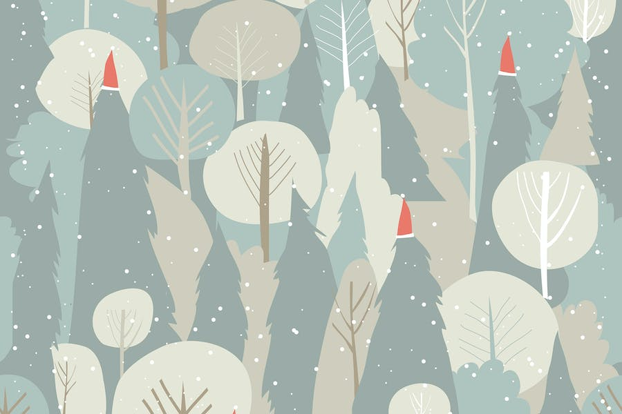 Seamless vector winter forest pattern. Christmas b