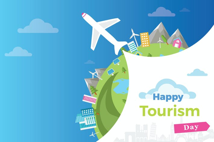 Thumbnail for Happy Tourism Day Flat Background