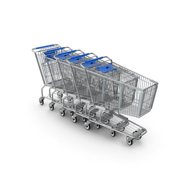 Thumbnail for Metal Shopping Carts Blue Row