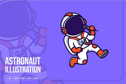Astronaut Singing Illustration