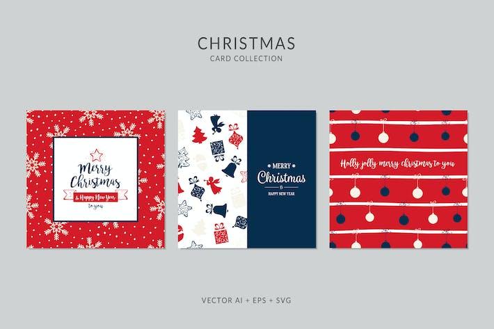 Thumbnail for Christmas Greeting Card Vector Set