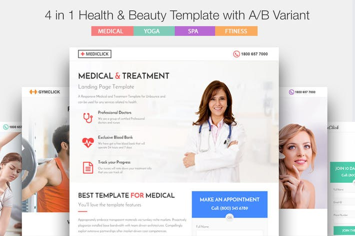 Thumbnail for Medical, Spa, Yoga & Fitness Landing Page Template