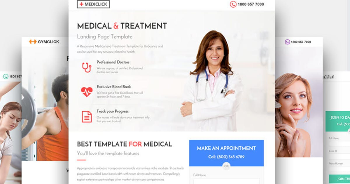 Medical, Spa, Yoga & Fitness Landing Page Template by surjithctly on
