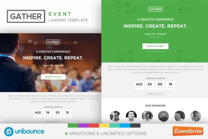 Cover Image For Unbounce Event Landing Page Template - Gather
