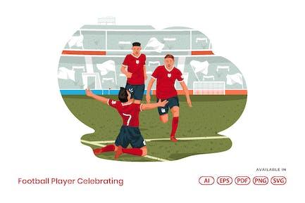 Football-Spieler feiern