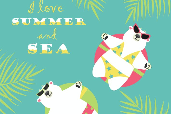 Thumbnail for Cute polar bears swimming with rubber ring. Vector