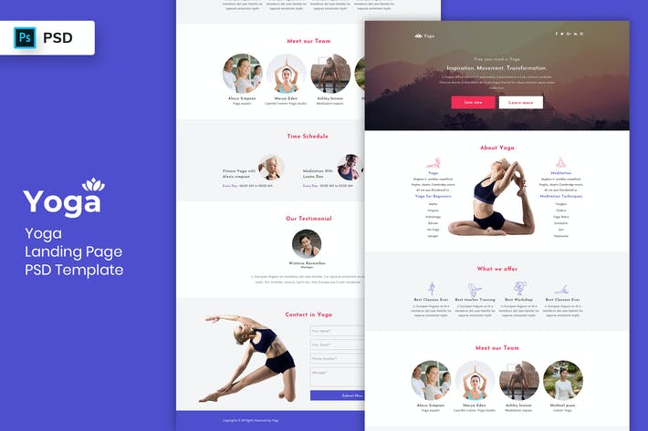 Thumbnail for Yoga - Landing Page PSD Template-02