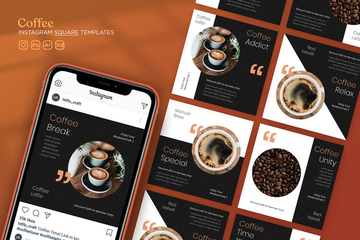 Thumbnail for Instagram Square Templates Vol.27 Coffee