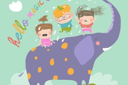 Счастливые дети с большим слоном #illustration2020