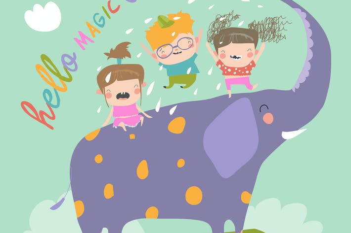Cover Image For Happy kids with big elephant #illustration2020