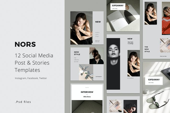 Thumbnail for Social Media Pack Posts and Stories Template