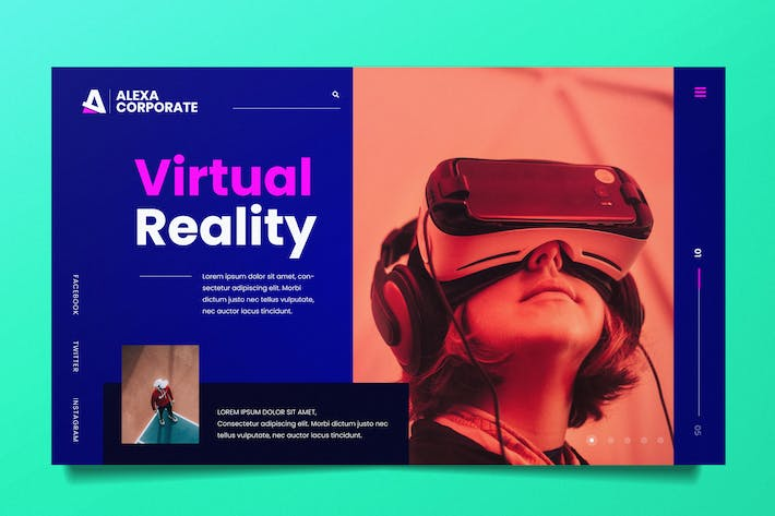 Thumbnail for Virtual Reality Web Header PSD and AI Template