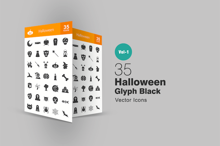 Thumbnail for 35 Halloween Glyph Icons