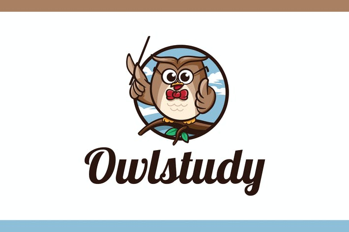 Thumbnail for Cartoon Smart Owl Mascot Character Logo