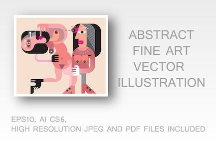 Two naked women vector illustration