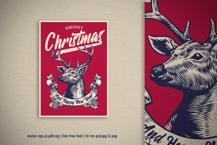 vintage hand drawn design of christmas deer