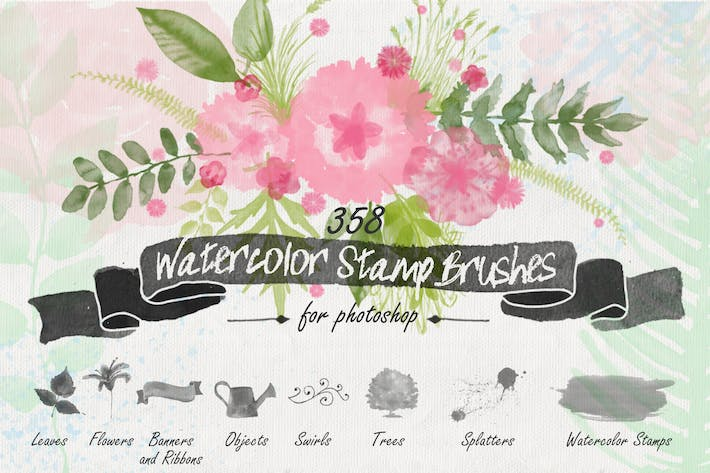 Thumbnail for Floral Watercolor PS Stamp Brushes