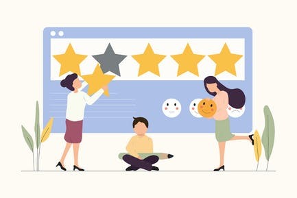 Customer Review Rating - Vector Illustration