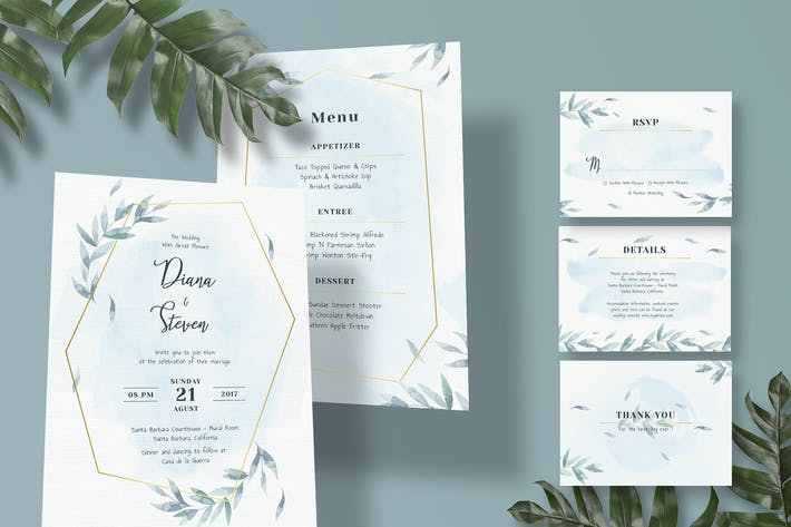 Thumbnail for Diagonal Wedding Invitation Set