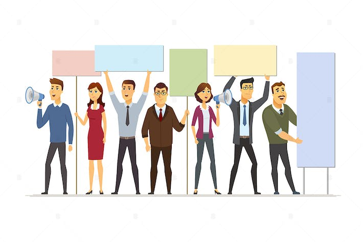 Thumbnail for Business people on strike - vector illustration