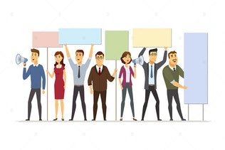 Business people on strike - vector illustration