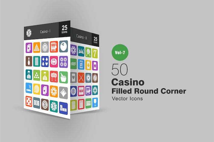 Thumbnail for 50 Casino Filled Round Corner Icons