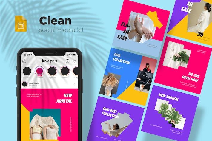 Thumbnail for Clean Social Media Kit Vol. 01- Google Slides