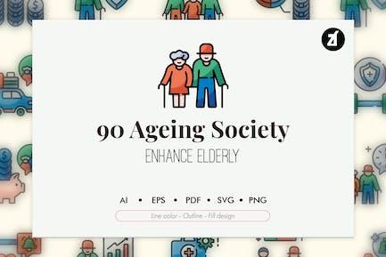 90 Paquete de iconos de elementos de la sociedad envejecida