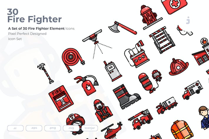 Thumbnail for 30 Fire Fighter Icons