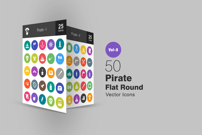 Thumbnail for 50 Pirate Flat Round Icons