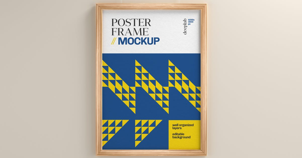 Download Poster Mockup With Wood Frame by deeplabstudio
