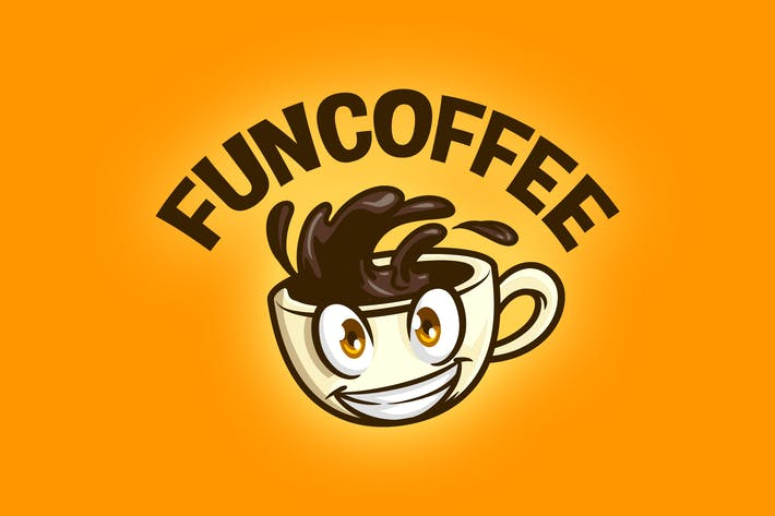 Thumbnail for Cartoon Coffee Cup Mascot Logo