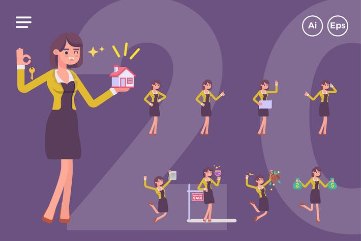 Thumbnail for Female Real Estate Agent Character Set (20 Poses)