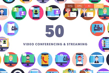 Video Conferencing and Streaming Icons