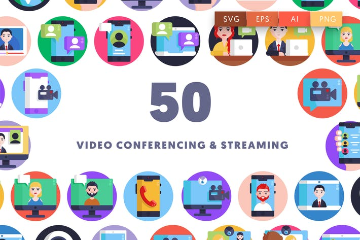 Thumbnail for Video Conferencing and Streaming Icons