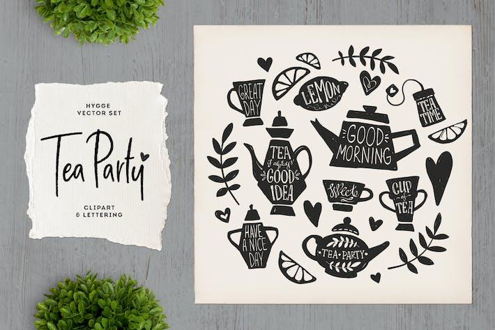 Tea Party Clipart & Schriftzug
