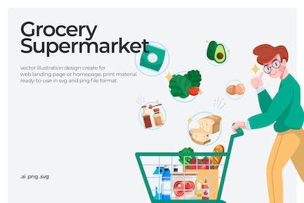 Grocery Supermarket - Illustration