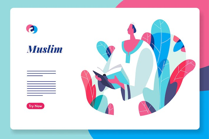 Thumbnail for Muslim people web hero illustration template
