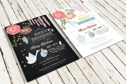Chalk Effect/Knit Baby Shower Invitation
