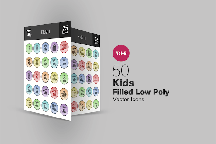 Thumbnail for 50 Kids Filled Low Poly Icons