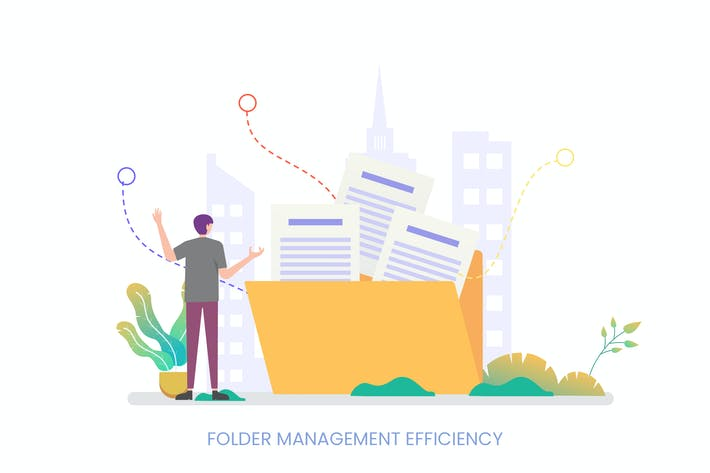Thumbnail for Folder Management Efficiency Vector Illustration