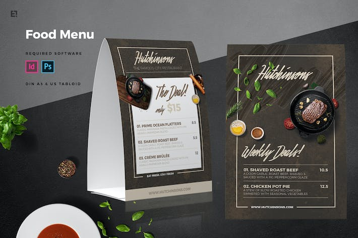 table tent menu by egotype on envato elements