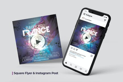 Electronic Trance Flyer & Social Post